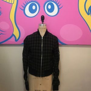 A.L.C. Army Black Andrew Gingham Bomber Jacket